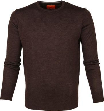 Suitable Merino Pullover O-neck Darkbrown