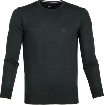 Suitable Merino Pullover R-Neck Dark Green