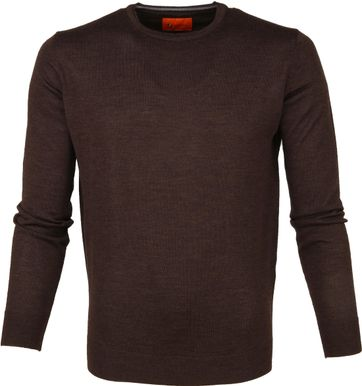 Suitable Merino Trui O-neck Donkerbruin