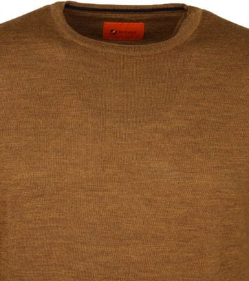 Suitable Merino Trui O-neck Oker Bruin