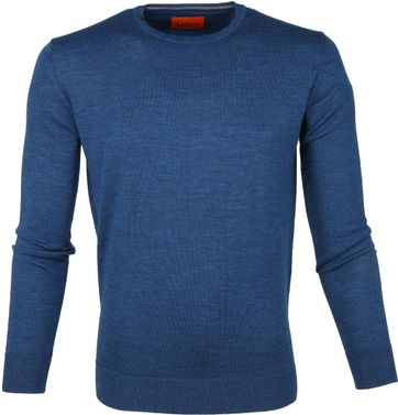 Suitable Merino Trui O-neck Petrol Blauw