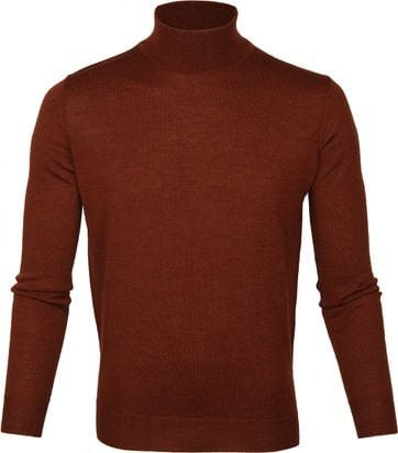 Suitable Merino Turtleneck Pull Brique