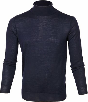 Suitable Merino Turtleneck Pull Darkblue