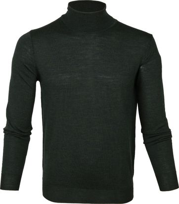 Suitable Merino Turtleneck Pull Darkgreen