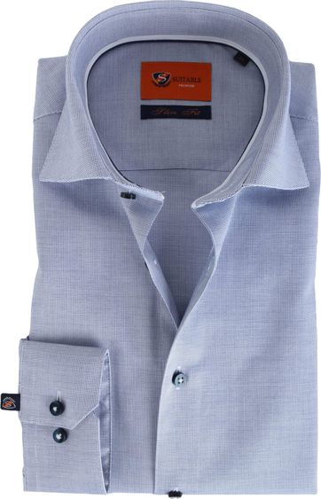 Suitable Navy Pinpoint Shirt Slim Fit D61-02