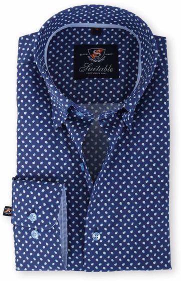 Suitable Overhemd Blauw Print 133-3