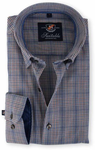Suitable Overhemd Blauw Ruit 133-6