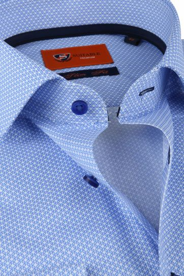 Suitable Overhemd Blauw Slim Fit