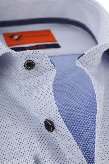 Suitable Overhemd Blauw Wit Wesley