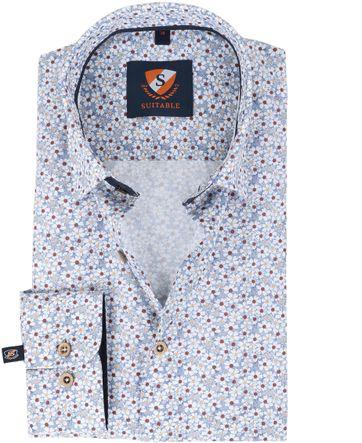 Suitable overhemd Bloem Blauw