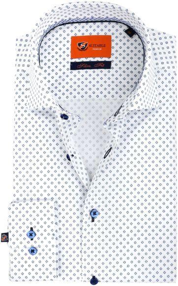 Suitable Overhemd Bloem Wit Blauw
