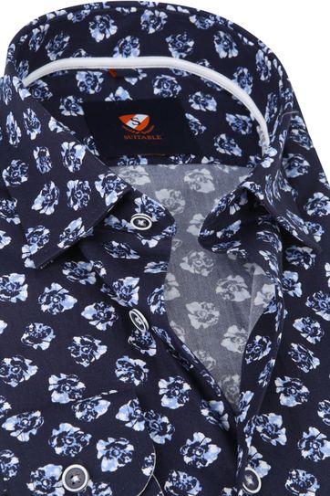 Suitable Overhemd Bloemen Donkerblauw