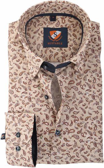 Suitable Overhemd Bruin Print 147-5