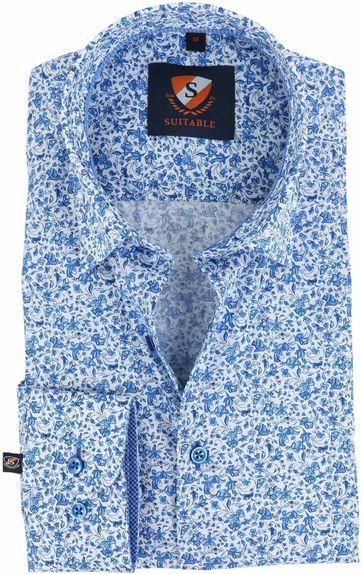 Suitable Overhemd Delfts Blauw Bloem