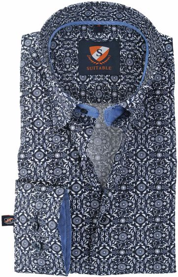 Suitable Overhemd Donkerblauw Print 147-4