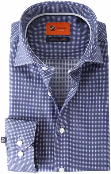 Suitable Overhemd Navy Checks Dot