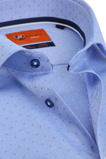 Suitable Overhemd Oxford Dots Blauw