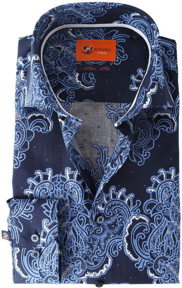 Suitable Overhemd Paisley Print Royal