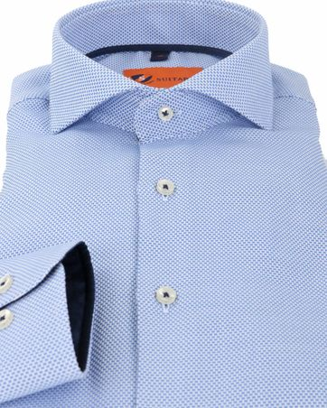 Detail Suitable Overhemd Pinpoint Blauw