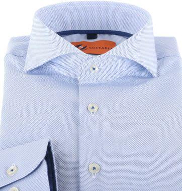 Detail Suitable Overhemd Pinpoint Lichtblauw