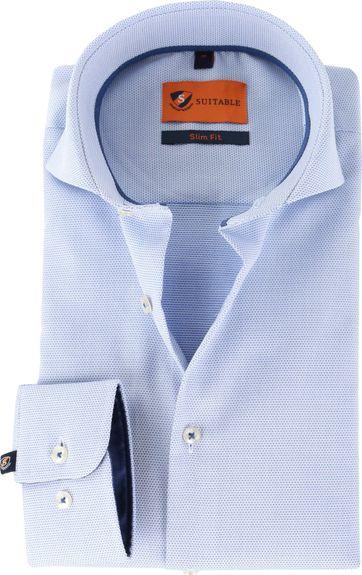 Suitable Overhemd Pinpoint Lichtblauw