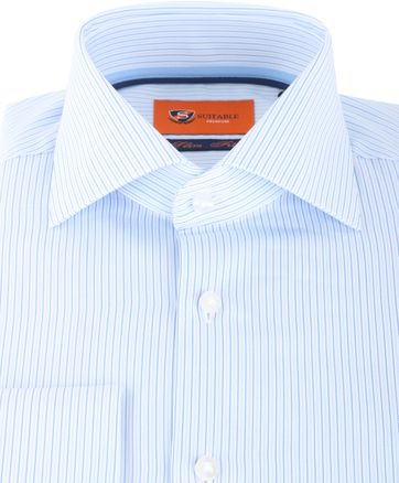 Detail Suitable Overhemd Stripe Blue Dubbelmanchet