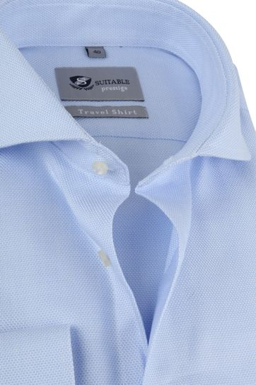 Suitable Overhemd Travel Blauw Jacquard