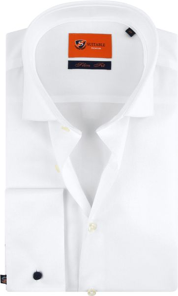 Suitable Overhemd White Twill Dubbelmanchet
