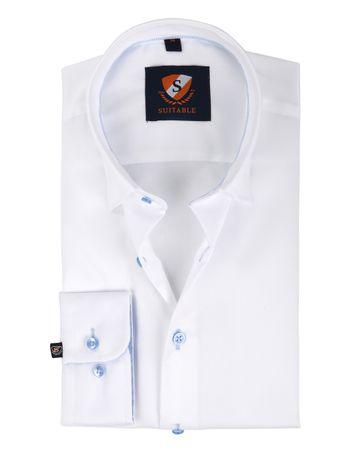 Suitable Overhemd Wit Blauw Twill