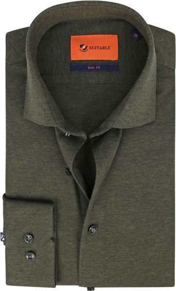 Suitable Overhemd WS KN11 Donkergroen