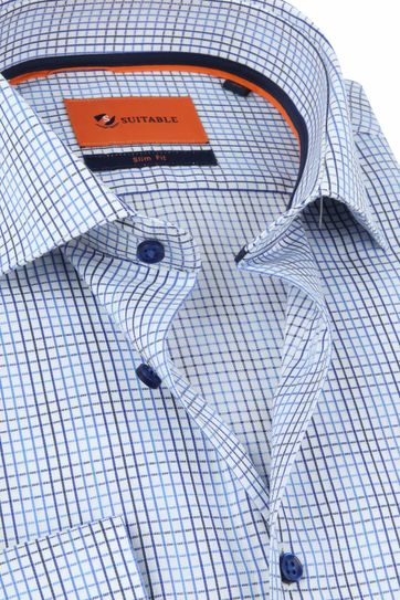 Suitable Overhemd WS Ruit Blauw