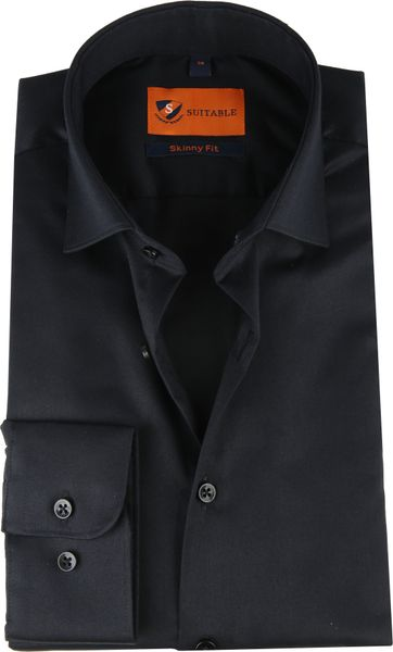 Suitable Overhemd Zwart Skinny Fit