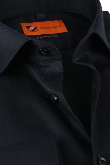 Suitable Overhemd Zwart Skinny Fit