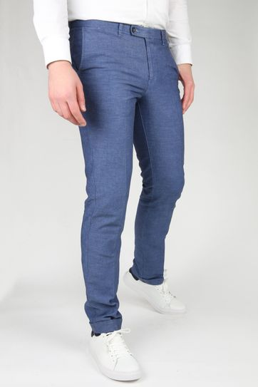 Suitable Pantalon Pisa Melange Blauw