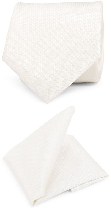 Suitable Pocketsquare Tie Set V-Design Off-White