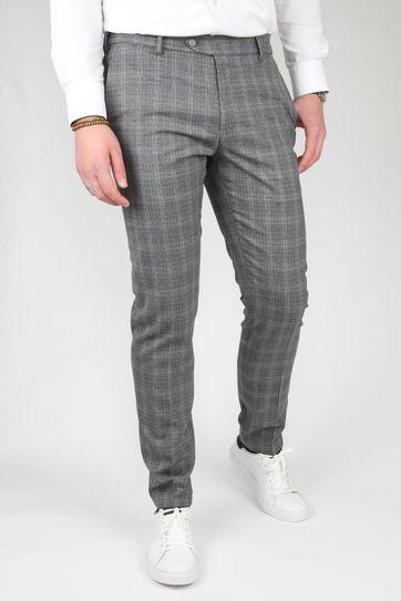 Suitable Premium Pantalon Milano Checked Dark Grey
