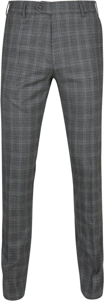 Suitable Premium Pantalon Milano Checked Dark Grey