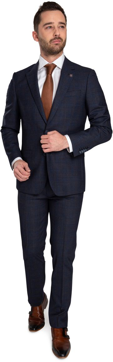 Suitable Prestige Anzug Faux Checks Navy