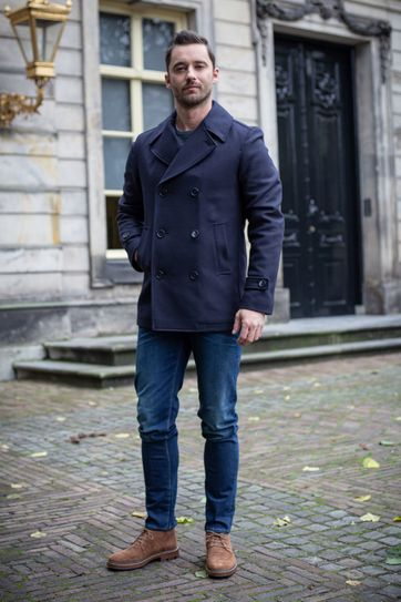 Suitable Prestige Coat Nathan Donkerblauw
