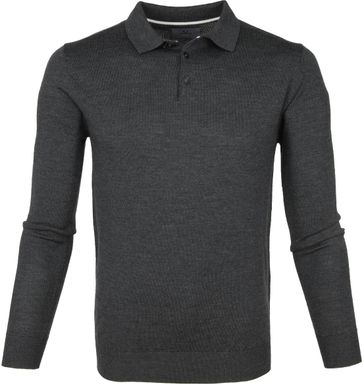Suitable Prestige Merino Polo Antraciet