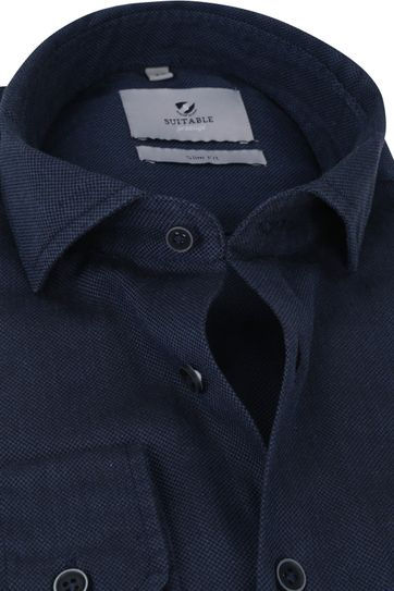 Suitable Prestige Overhemd Funi Donkerblauw