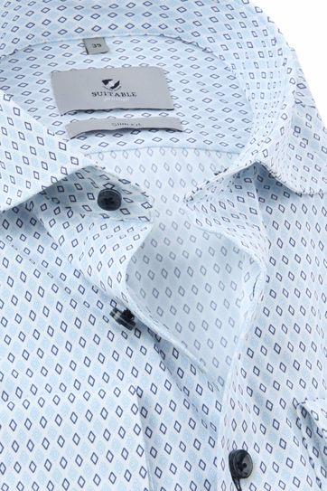 Suitable Prestige Overhemd Print Lichtblauw