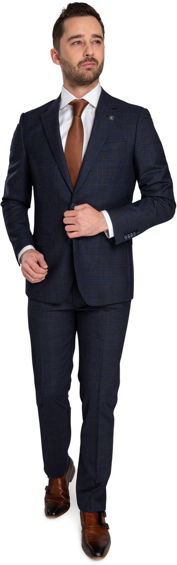 Suitable Prestige Suit Faux Checks Navy