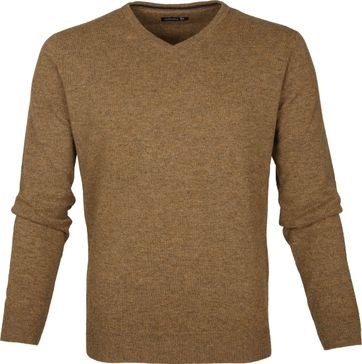 Suitable Pullover Lambswool V-Neck Camel