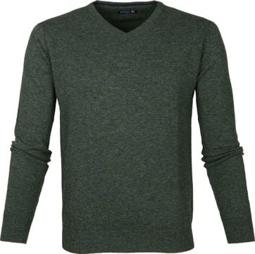 Suitable Pullover Lambswool V-Neck Dark Green