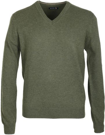 Suitable Pullover Lammwolle Armee Grün