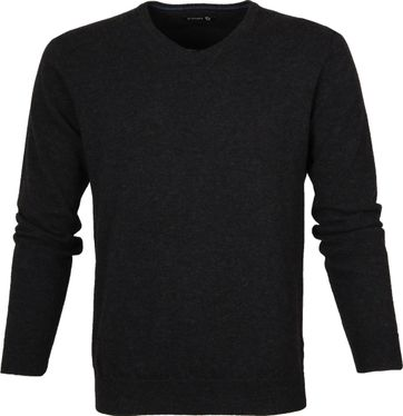 Suitable Pullover Lammwolle V-Ausschnitt Anthrazit