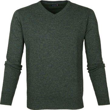 Suitable Pullover Lammwolle V-Ausschnitt Dunkelgrün