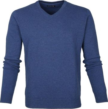 Suitable Pullover Lamswol V-Hals Blauw