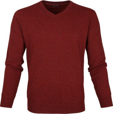 Suitable Pullover Lamswol V-Hals Donkerrood